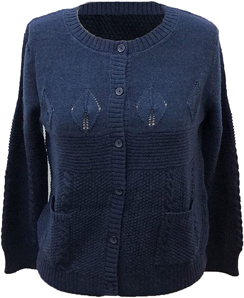 Women's Wool Cardigan Long Sleeves Knitwear Crewneck with Stitches Classic and Trendy