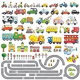 DECOWALL DAT-1404P1405 Straßen Transporte Autos Fahrzeuge Wandtattoo Wandsticker Wandaufkleber Wanddeko für Wohnzimmer Schlafzimmer Kinderzimmer