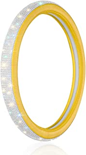 Otostar Luxury Litchi Soft Leather Crystal Steering Wheel Cover, with 3444pcs Premium Bling Bling Full Diamond 15 inch (Yellow)