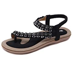 036f282c964 Meeshine Women s Summer Thong Flat Sandals T-Strap Bohemian R ..