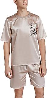 Asskyus Men's Pajamas Tops and Shorts Sets, Silky Nightwear Sleep Shirts