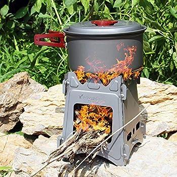 Lixada Réchaud de Camping Pliant Portable, Poêle à Bois Léger Titane pour la Survie en Plein air Cuisson Pique-Nique Chasse (Type2)