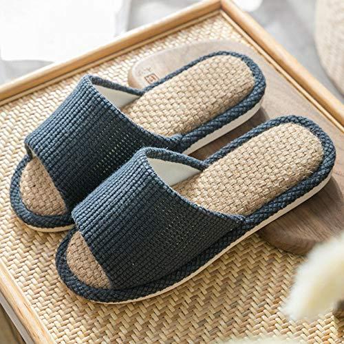CáLido Zapatos Memory AlgodóN,Cómodas Pantuflas Suaves, Lino hogar Piso Drag-Tibetan Blue_41-42,Invierno Cálido Pantuflas Memoria