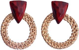 XMJM Boucles d'oreilles Vintage Bohèmes, Boucles d'oreilles en Rotin, Boucles d'oreilles en Résine De Triangle Faites À La...