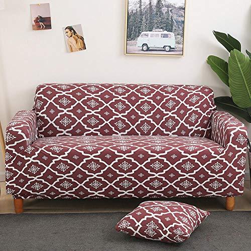 Fundas Sofas 3 y 2 Plazas Ajustables Marrón Fundas Sofa Elasticas,Funda de Sofa Chaise Longue,Moderna Cubre Sofa,La Funda para Sofa Jacquard de Poliéster (195-230cm)