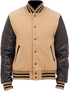Varisity Brown & Black Letterman Bomber Wool Jacket with Leather Sleeves Jacket