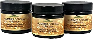 Organic Shimmer Whipped Body Butter Gift Set Trio of Sexy Sparkle For Natural Skin Radiance Bronze, Diamond & Gold 2 oz jars– Chemical Free Shimmering Moisturizer - Glimmer Goddess