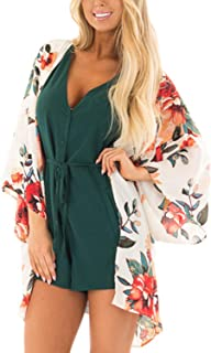 Kimono Cardigans for Women Fashion Floral Chiffon Swimsuit Cover-Up Beach Loose Top