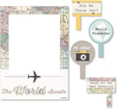 World Awaits - Travel Themed Party Selfie Photo Booth Picture Frame & Props - Printed on Sturdy Material