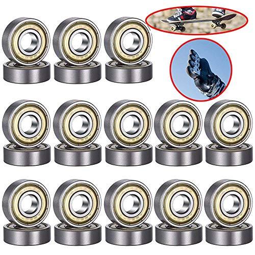 Xinlie Skateboard-Kugellager Rillenkugellager 608 ZZ Kugellager 608zz Metall Double Shielded Miniatur Rillenkugellager für Werkzeuge, Möbel, Sportgeräte, Roller, Spielzeug8mm x 22mm x 7mm(26 Stück)