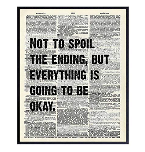 Motivational Upcycled Dictionary Wall Art Print - 8x10 Home Decor or Room Decoration, Funny Poster...