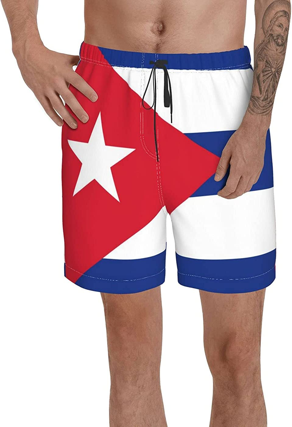 Count Cuba Flag Men's 3D Printed Funny Summer Quick Dry Swim Short Board Shorts with