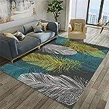 alfombras Que se Pueden Fregar Black Sala de Estar Alfombra de Plumas Impresión Impresa Hermosa y Resistente a Las Manchas Alfombra habitacion Bebe moqueta 140X200CM 4ft 7.1