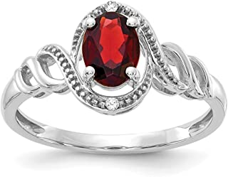 10k White Gold Red Garnet Diamond Band Ring Size 7.00 Stone Birthstone January Oval Fine Jewelry Gifts For Women For Her