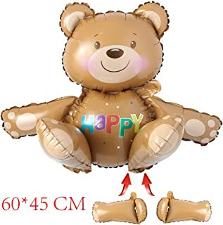 Self Stand Huge 3D Happy Bear foil Balloons Baby Shower Decoration Helium Balloon Happy Birthday Balloons Inflatable Toys air Ball Party Supplies (Happy Bear)