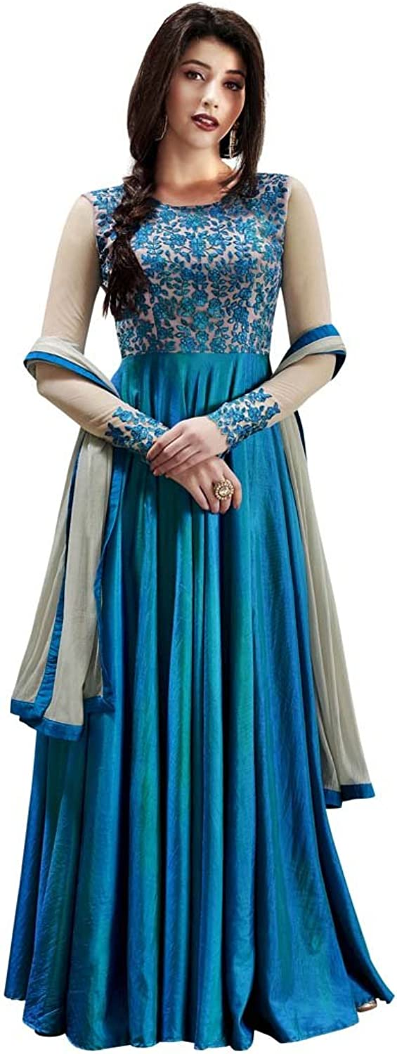 INMONARCH Womens Sky bluee Handloom Silk Anarkali Suit SLRD1032A