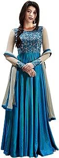 INMONARCH Womens Sky Blue Handloom Silk Anarkali Suit SLRD1032A