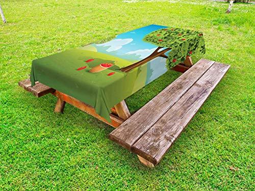 ABAKUHAUS Land Outdoor-Tischdecke, Korb in einem Apfelgarten, dekorative waschbare Picknick-Tischdecke, 145 x 265 cm, Mehrfarbig