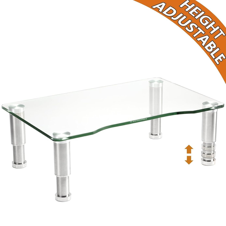 Glass 电脑显示器 riser 带高度可调节多媒体桌面支架适用于液晶显示器屏幕 LCD 液晶电视,笔记本电脑 / 笔记本 / Xbox One, 透明