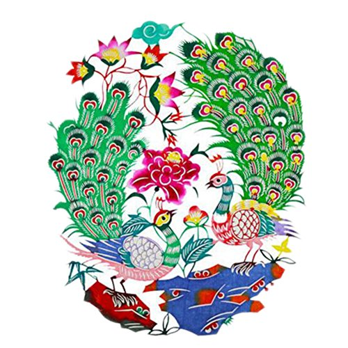 Black Temptation 4PCS Chinese Traditional Art Paper Cut Décor Collection colorée Souvenir-A19