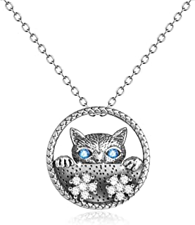 YFN Cat Necklaces 925 Sterling Silver Vintage Cat Gifts for Women Girls