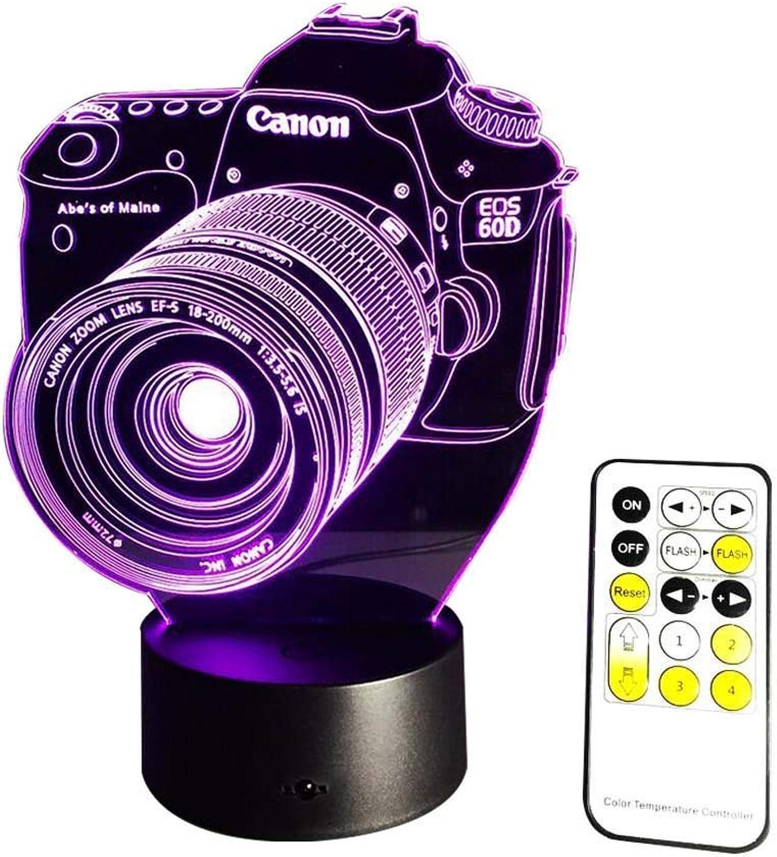 BMY 3D Illusion Lampe Nachtlicht USB Powerot 7 Farben blinkende Fernbedienung Schlafzimmer Dekoration Beleuchtung für Kinder