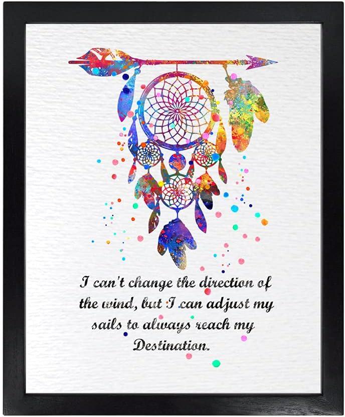 Dignovel Studios 8X10 Unframed Dreamcatcher Always Reach My Destination Native American Inspirational Quotes Saying Wisdom Watercolor Art Print Poster Wall Art Nursery Kids Office Home Decor DN562