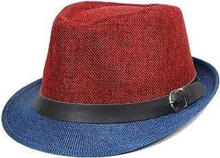 2 Color Classic 20s Mens Panama Jazz Hat, Linen Vintage Sun Protection Floppy Cap, Casual Short Brim Roll up Fedora Sun Hat