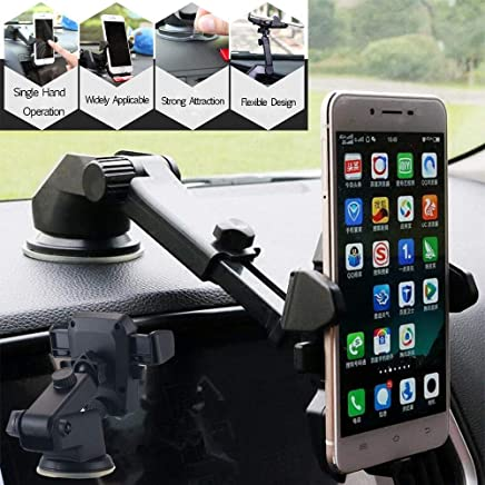 Universal Car Mobile Phone Holder - Telescopic One Touch Long Neck Arm 360 Degree Rotation with Ultimate Reusable Suction Cup Mount for Car Dashboard/Windshield/Desktop (Black)