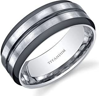 Peora Two Tone Comfort fit Mens 8mm Titanium Wedding Band Ring Sizes 8 to 13