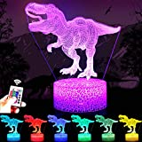 RONGGE Dinosaur Toys, 16 Colors Children 3D Illusion Bedside Lamp Remote Control T Rex Night Light for Kids 2 3 4 5 6 7 8-12 Year Old Boys Birthday Gifts Home Decorations