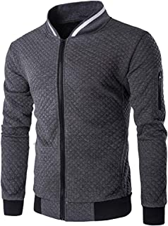 ZFADDS Mens Hoodie Zipper Jacket Stand-Neck Sudaderas Hombre High-Grade Sweatshirt Plaid Tracksuit