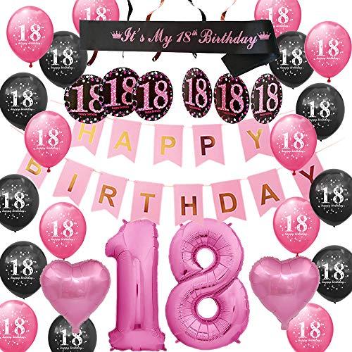 Happyhours Deko Geburtstag 18 Mädchen Geburtstagsdeko, Birthday Girlande, Birthday Schärpe 18 Folienballon, Latex Ballons Rosa und Schwarz 18 Luftballons Deko Set