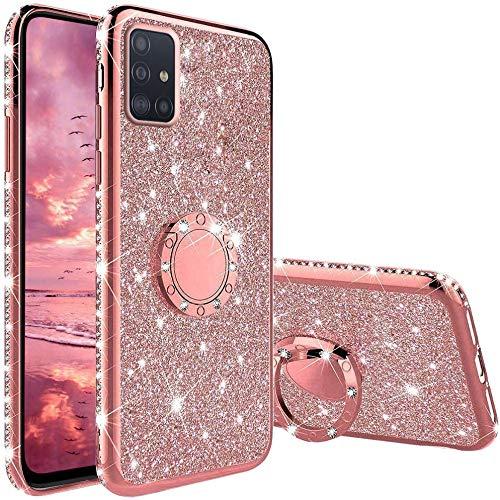 OUJD Glitter Funda para Samsung Galaxy A71, Brillante Diamante Bling Carcasa, 360 Grados Anillo Iman Soporte Magnético con Silicona TPU Resistente Anti-Rasguños - Rosa