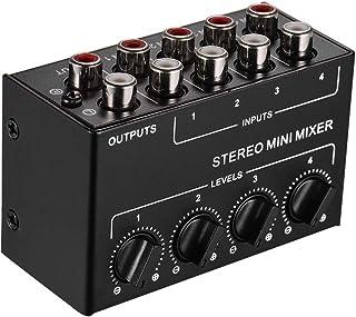 Yoging CX400 Mini mesa de mezclas estéreo pasiva RCA 4 canales, mesa de mezcla, dispensador estéreo para estudio en directo
