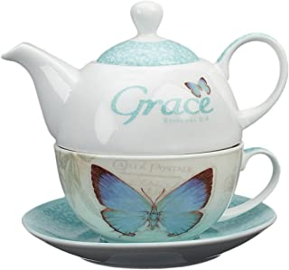 """Christian Art Gifts Ceramic Teapot Set   Botanic Butterfly Blessings """"Grace"""" – Ephesians 2:8   Turquoise Butterfly and Flower Tea For One Set w/ Tea Cup and Saucer"""