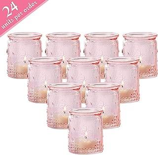 Kate Aspen Tea Light Holder, Vintage Glass Tealight Candle Holders, Perfect Wedding Favor, Bachelorette Favor or Bridal Shower Favor - (6 Sets of 4, 24 Pieces)