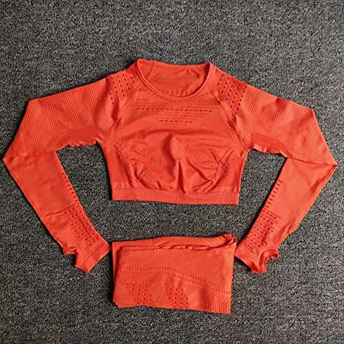 Leggins Pantalon Deporte Yoga,Traje de Yoga de tiburón, Ajustado de Manga Larga sin Costuras-Orange_L,Leggings Pantalones Mallas Elásticos