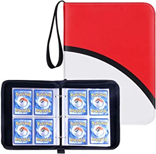 Carrying Case Binder Fit for Pokemon Cards, Trading Card Binder Holds Up to 400 Standard Size Cards, Famard Card Sleeves w...