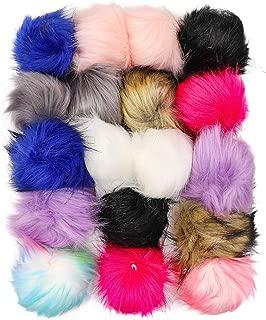 BIZAR 18Pcs Faux Fox Fur Pom Pom Balls, 9 Colors Soft Fluffy Pompoms with Elastic Loop for Crochet Hat, Scarf, Key Chain, Bag Charm Crafts