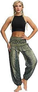 RISTHY Mujer Pantalones Harem Tailandes Hippies Vintage Boho Flores Verano Alta Cintura Elastica Casual Danza Yoga Pants B...