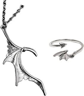 caiyao Cool Gothic Compatible Dragon Wing Shape Love Heart Matching Pendant Adjustable Choker Necklace and Open Ring Coupl...
