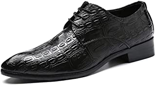 Leather Fashion Oxfords for Men Business Dress Shoes Lace up Faux Leather Pointed Toe Texture Embossed Block Heel shoes (Color : Black, Size : 39 EU)
