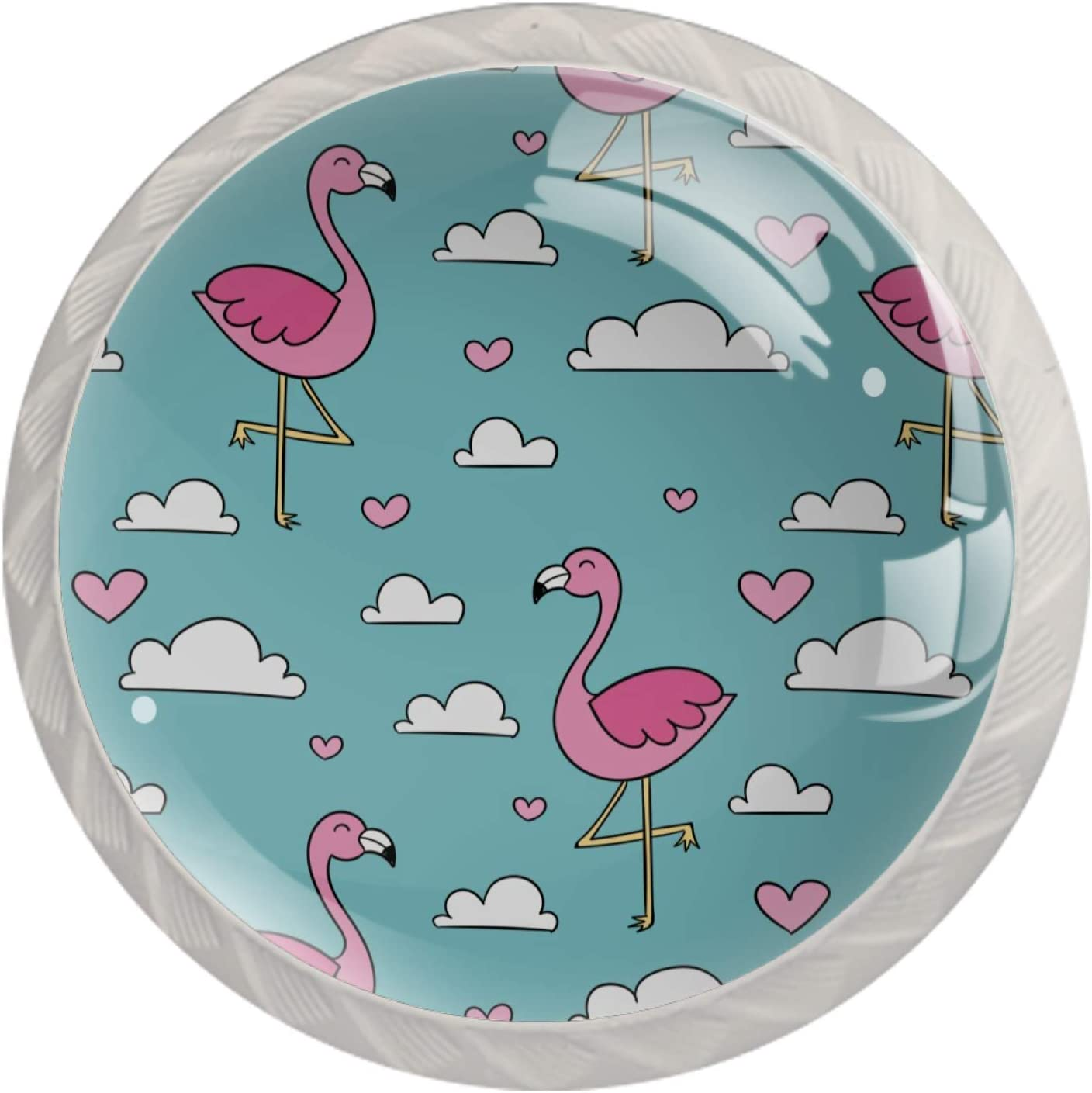 Lenergy White favorite Cabinet Knobs Pink Flamingo Drawer Pu Modern Max 57% OFF