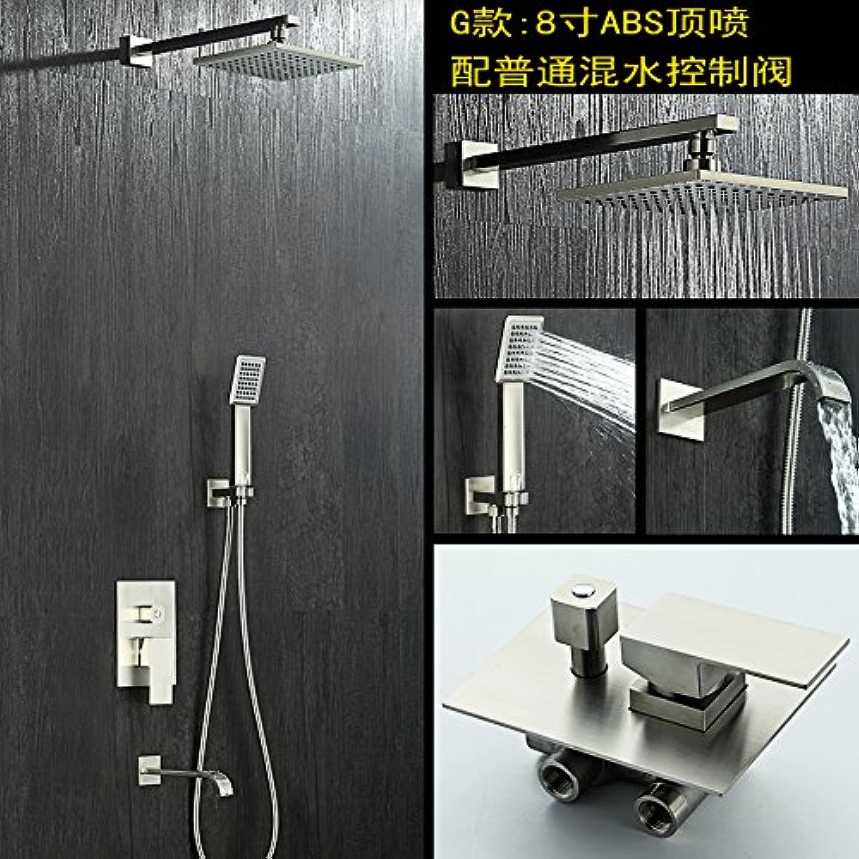MangeooBadezimmer Wand, 304 Edelstahl Drahtziehereien, dunkel, Whirlpool, Dusche, Wasserhahn, Dusche, g 8 Zoll absShower Dusche einstellen