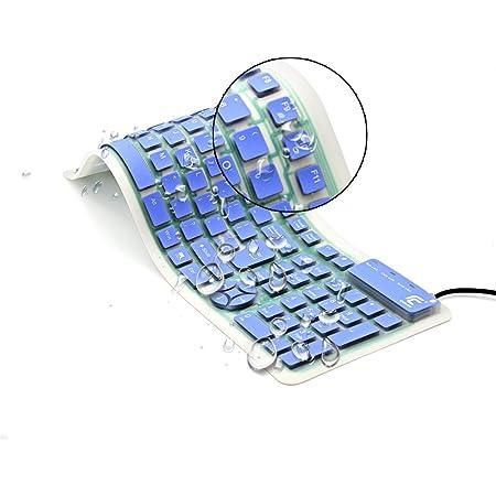 CHIN FAI Teclado de Silicona Plegable Teclado Flexible Teclado de enrollar Teclado USB Teclado de computadora Impermeable Suave Cable de Silicona para ...