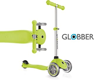 Globber - Child Scooter, 3 Wheel Scooter for Kids, Ages 3+, 4 Adjustable Height Kick Scooter no Assembly Learn to Steer Patented Steering Lock for Girls or Boys Reinforced Body Supports Up to 110lbs