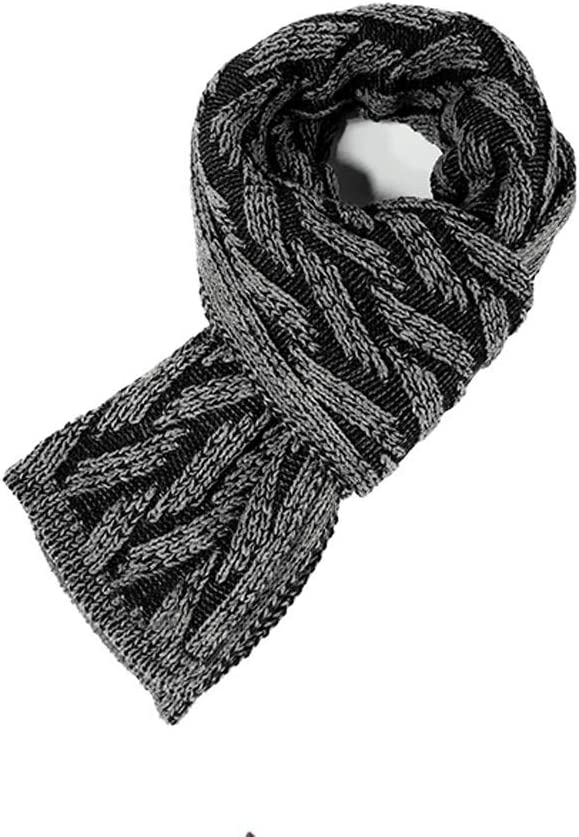 Scarves Knitted Scarf Autumn and Winter Fashion Scarf Men's Warm and Comfortable Scarf Striped Design Style Shawl Stole Scarf (Color : Black)