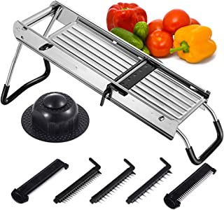 Shule Mandolin Slicer Adjustable Stainless Steel Vegetable Slicer With 5 Interchangeable Blades-Food Slicer-Vegetable Cutter and Cheese Slicer& Other Accessories