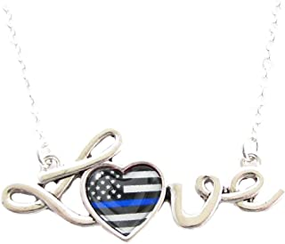 Sports accessory store Police Appreciation Thin Blue Line Love Script Silver Necklace Officer Policeman